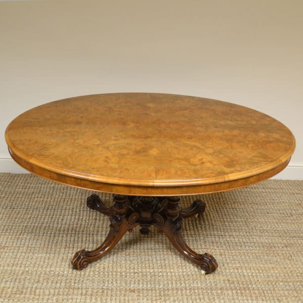 Spectacular Figured Walnut Victorian Oval Antique Dining Table / Loo Table