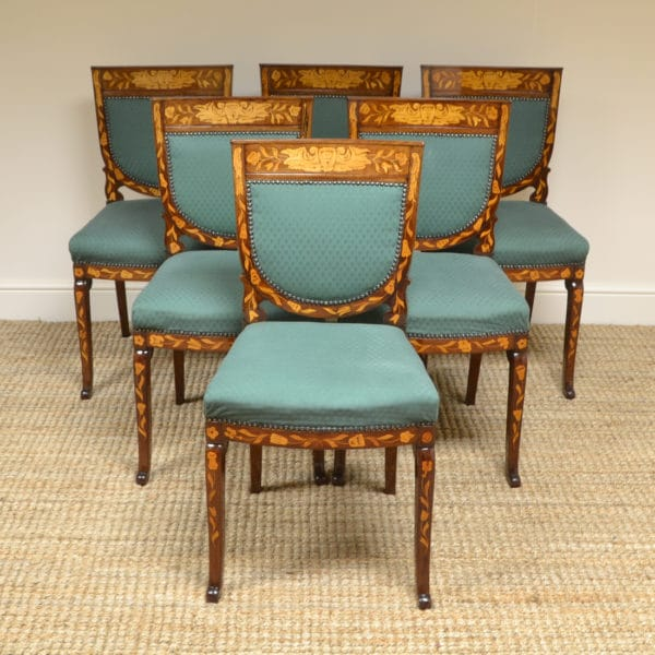 Set of Six Mahogany Dutch Marquetry Victorian Antique Dining Chairs