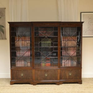Large Victorian Break Fronted Mahogany Antique Bookcase
