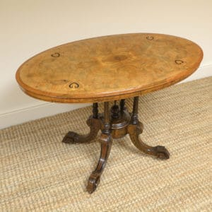 Victorian Oval Figured Walnut Inlaid Antique Side Table