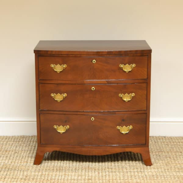 Small Bow Fronted Regency Antique Chest of Drawers