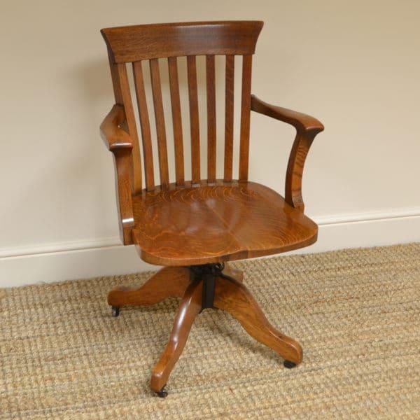 Edwardian Oak Antique Swivel Office Chair