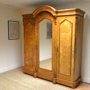 Burr Walnut Victorian Antique Triple Wardrobe