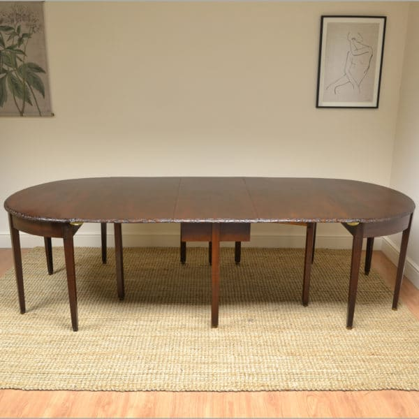 Large Georgian Mahogany D End Antique Dining Table