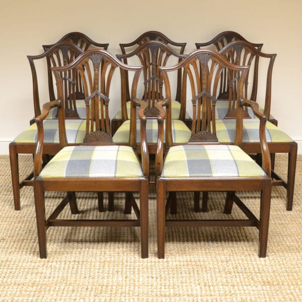 Set of 8 Hepplewhite Design Antique Mahogany Dining Chairs