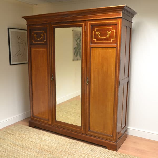 Inlaid Edwardian Mahogany Antique Triple Wardrobe