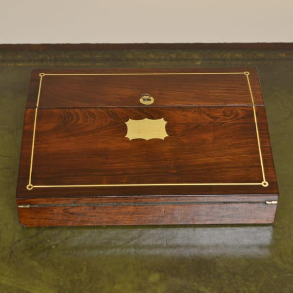 Antique Furniture Delicious Vintage Wooden Writing Slope With Brass Corners And Escutcheon* Edwardian (1901-1910)