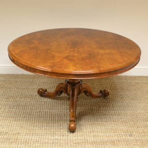 Striking Burr Walnut Victorian Circular Antique Dining Table