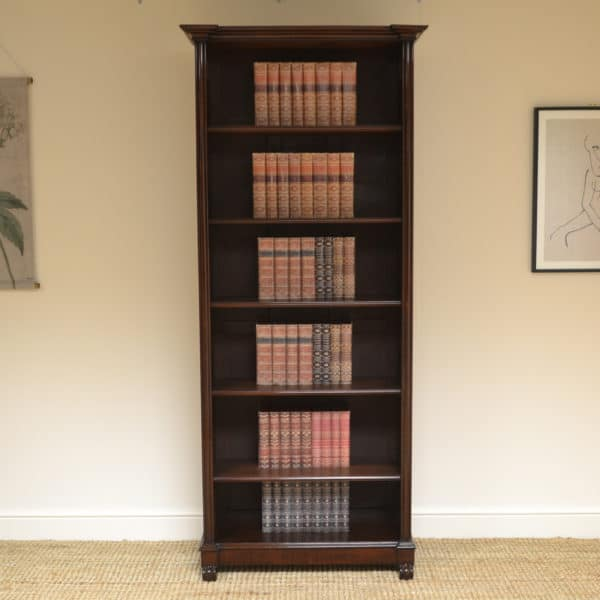 Tall Slim Victorian Antique Open Bookcase