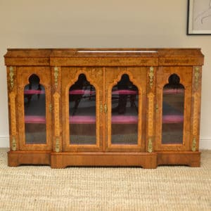 High Quality Victorian Burr Walnut Antique Credenza