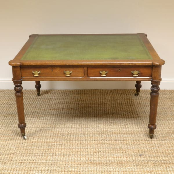 Victorian Oak Antique Partners Writing Table / Desk