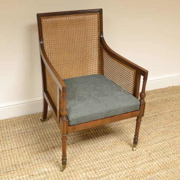 Victorian Mahogany Caned Upholstered Bergere Chair