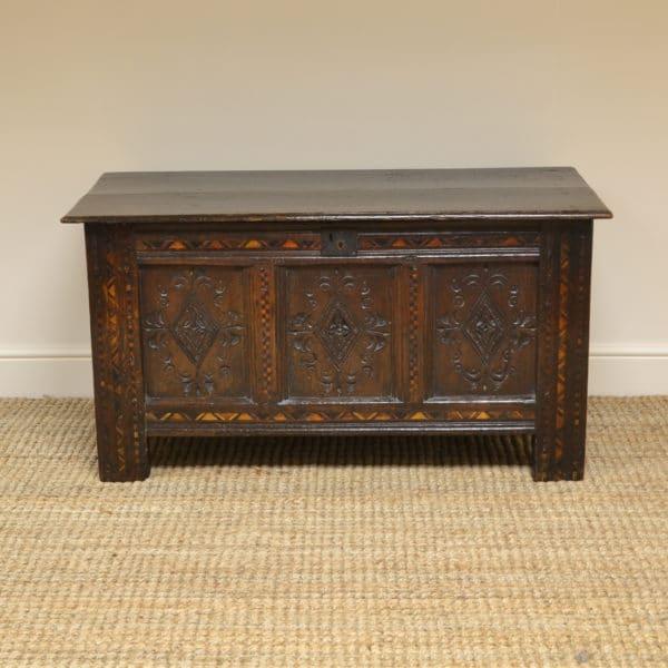 17th century Period Oak Inlaid Antique Coffer