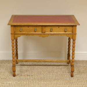 Edwardian Golden Oak Antique Writing Table