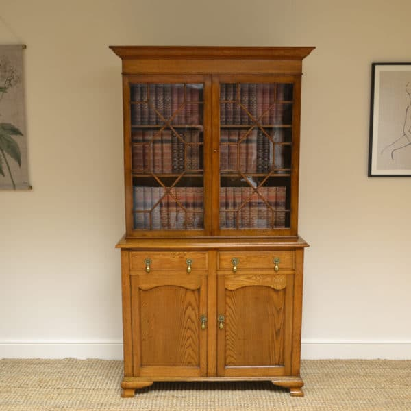 Spectacular Golden Oak Edwardian Antique Bookcase