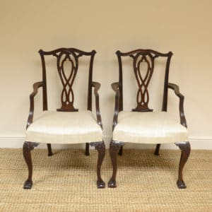 Pair of Chippendale Design Antique Carver Armchairs