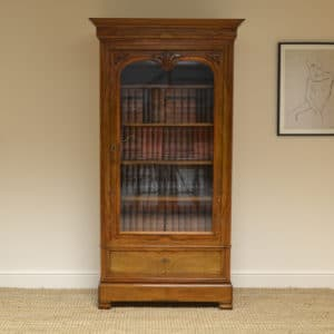 Figured Walnut Antique Glazed Bookcase