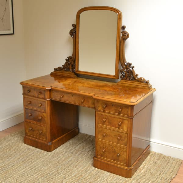 Spectacular Burr Walnut Victorian Antique Dressing Table
