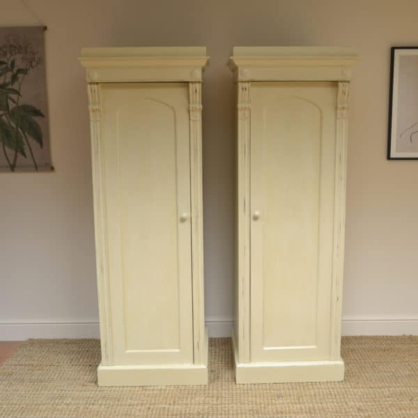 Unusual Pair of Painted William IV Antique Wardrobes