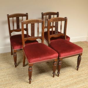 Victorian Walnut Set of Four Antique Dining Chairs