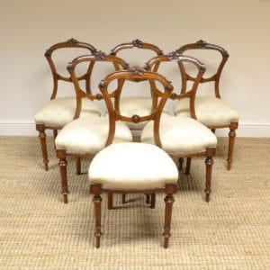 Elegant Set of 6 Victorian Walnut Antique Dining Chairs