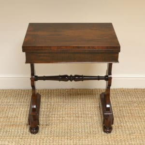 Spectacular Figured Rosewood Regency Antique Games Table