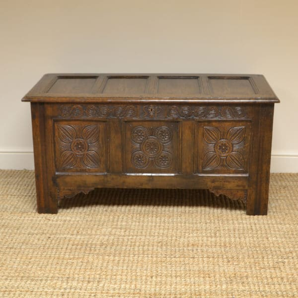 Early 18th Century Period Oak Carved Antique Coffer