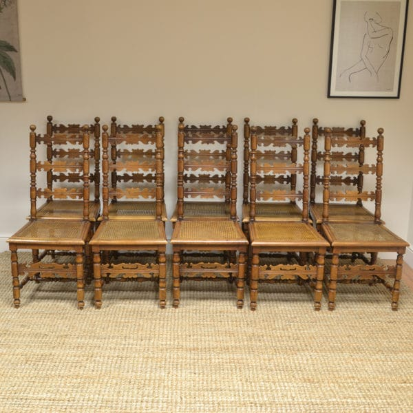 Set of Ten Fruitwood Antique Farmhouse Chairs