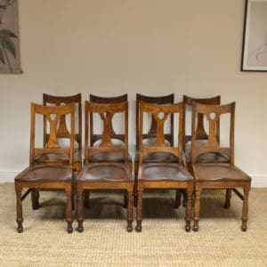 Unusual Arts & Crafts Oak 8 Country Antique Chairs