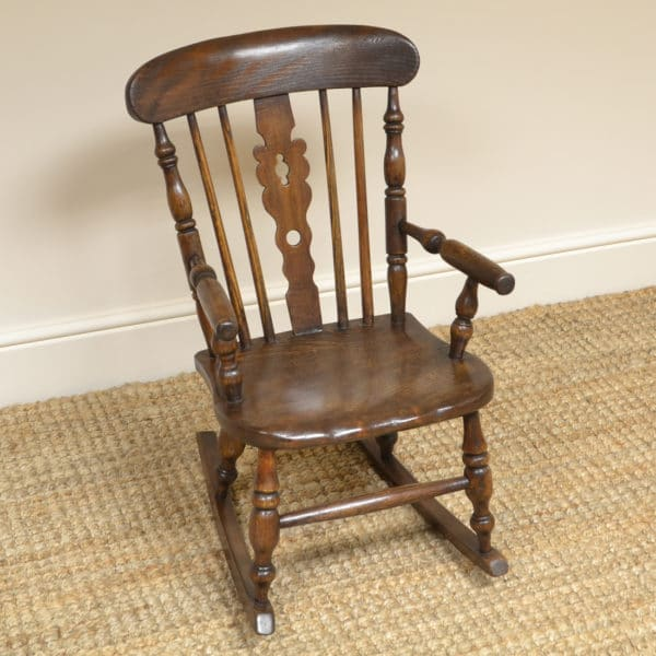 Georgian Child's Elm Antique Windsor Rocking Chair