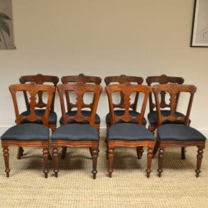 Set of 8 Victorian Walnut Reilly Antique Dining Chairs