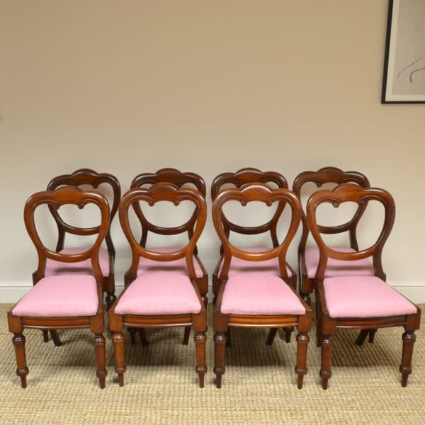 Eight Victorian Mahogany Balloon Back Antique Dining Chairs