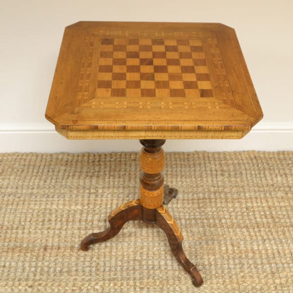 Unusual Antique Victorian Walnut Sorrento Chess Top Table