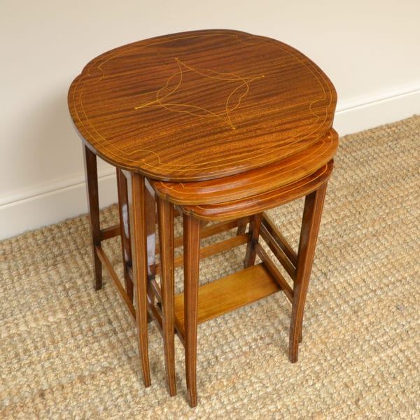 Spectacular Inlaid Mahogany Edwardian Antique Nest of Tables