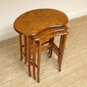 Edwardian Burr Walnut Antique Nest of Three Tables