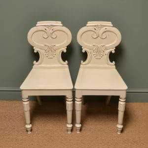Victorian Decorative Painted Antique Pair of Hall Chairs