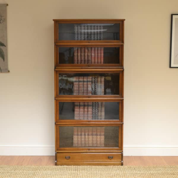 Tall Golden Oak Globe Wernicke Stacking Barristers Bookcase