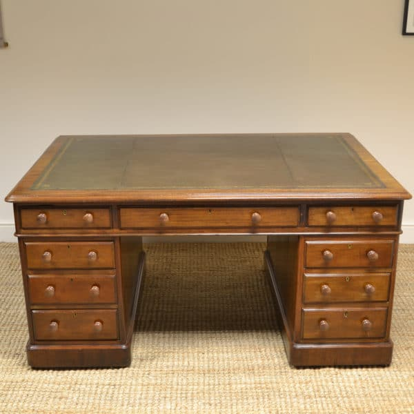 Large Victorian Mahogany Antique Partners Desk