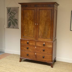 Quality Victorian Golden Mahogany Antique Linen Press