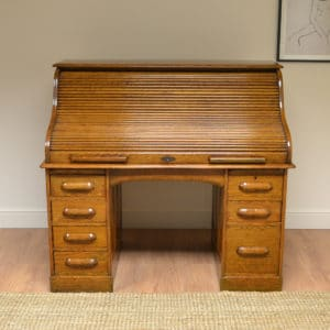 Quality Golden Oak Edwardian Antique Roll Top Desk