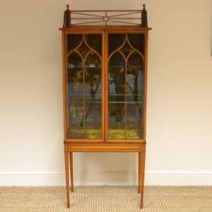 Spectacular Satinwood Victorian Antique Display Cabinet