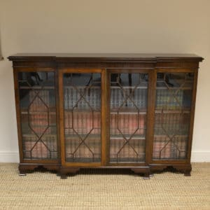 Edwardian Walnut Beak Fronted Antique Bookcase