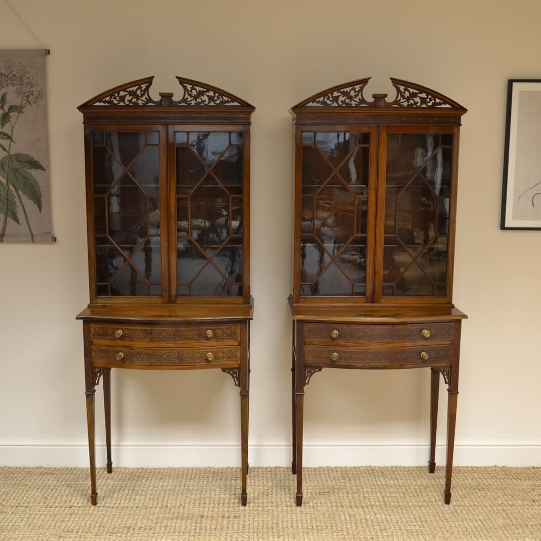 Chippendale Design Edwardian Walnut Pair of Antique Bookcases