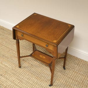 Small Victorian Rosewood Inlaid Antique Sofa Table / Side Table