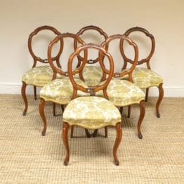 Set of Six Victorian Walnut Antique Balloon Back Chairs
