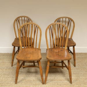 Four Country House Kitchen Elm Antique Windsor Chairs