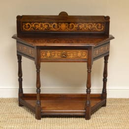 High Quality Walnut Shoolbred Inlaid Antique Side Table / Hall Table