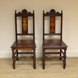 Pair of Victorian Walnut Inlaid Antique Hall Chairs