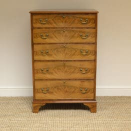 Tall Slim Edwardian Golden Mahogany Antique Chest Of Drawers
