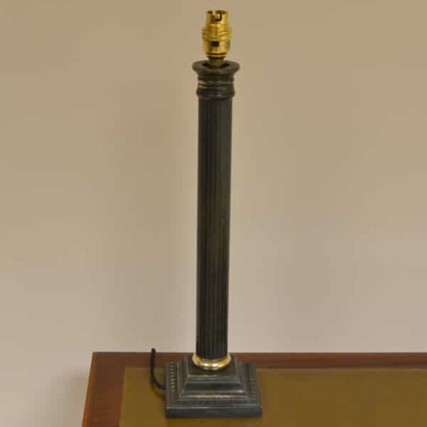 Large Vintage Bronzed Column Brass Lamp Base